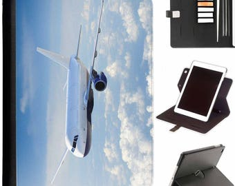 P-PLANE03-PLANESKY Luxury Apple ipad 360 swivel i pad leather case cover with card slots plane in blue sky