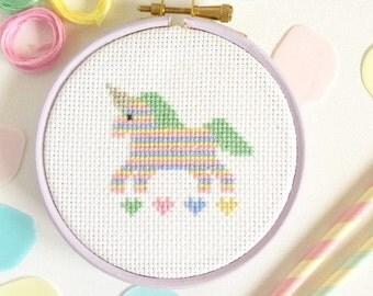 Unicorn cross stitch kit - quirky, kawaii cross stitch for beginners - Easy Cross Stitch Pattern