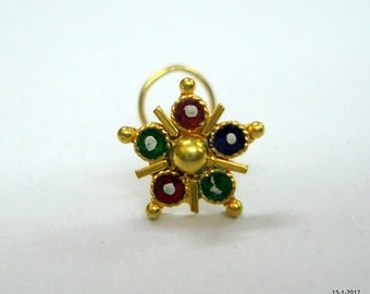 18kt traditional design gold nose stud nosepin nose ornament handmade