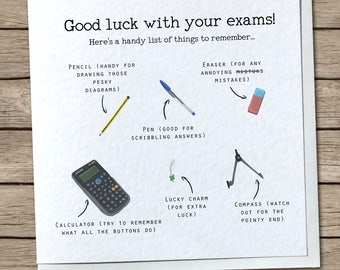 Exam List Greetings Card - Cute/Humour/Funny - Good Luck with your Exams