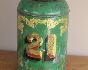 large victorian tea tin