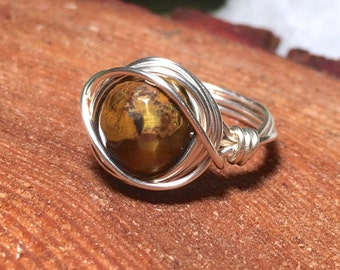 Faceted Tigers Eye Wire Ring