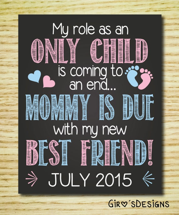 Pregnancy Announcement Chalkboard Sign Printable, My Role as an Only Child is coming to an end... Pregnancy Reveal, Digital Print.