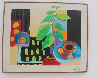 Vintage Colorful Still Life Painting By Diane Voyentza .