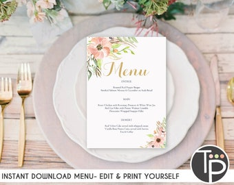 WEDDING MENU, Instant Download, BAPTISM Menu, Baptism Menu, Floral Wedding Menu, Country Menu, Printable Menu, Rustic Floral, Edit yourself
