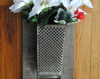 Farm House Cheese Grater Wall Sconce on Barn Wood