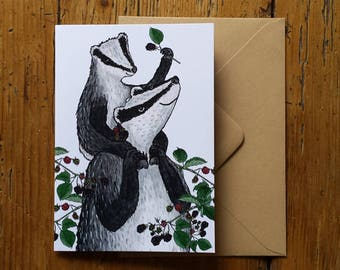 New Baby card: Badgers & Blackberries card by Alice Draws The Line; perfect for Father's day / Mother's Day / Grandparent/ Aunt or Uncle!