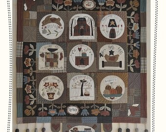 Mary s Farmhouse - wall hanging quilt -by MJJenek, hand appliqué, PAPER pattern, quilt pattern, primitive quilt, country quilt, patchwork