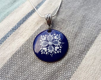Hand painted enamel ornament as a charm necklace cobalt blue and white