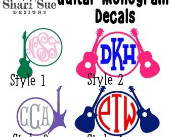 Monogrammed Guitar Vinyl Decal, guitar decal, guitar sticker, guitar decal for tumblers, guitar decal for water bottle, guitar decal for car