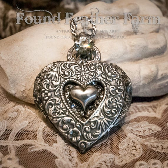 Handmade Jewelry Pendant with a Silver Repousse Heart, Jewels and Nickel Silver Heart Details