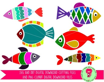 Fish SVG / DXF Cutting Files For Cricut Explore / Silhouette Cameo & PNG Clipart, Digital Download, Commercial Use Ok
