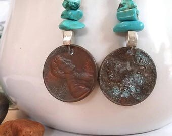 Penny Earrings, Abolitionist Earrings, Turquoise, Old Coin