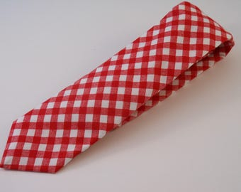 Red and White Gingham Necktie