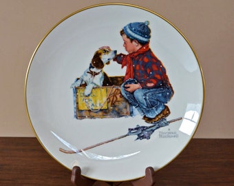 Vintage Norman Rockwell Collector Plate From 1971, The Four Seasons For Winter, A Boy Meets His Dog