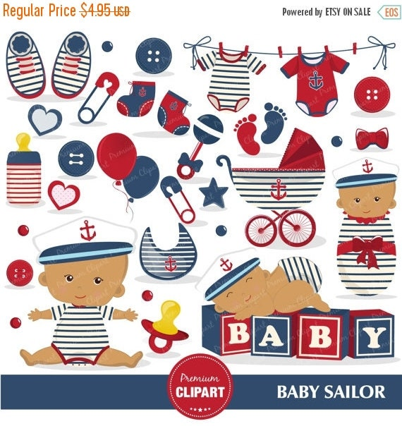 80% OFF SALE Nautical baby shower clipart, African American baby ...