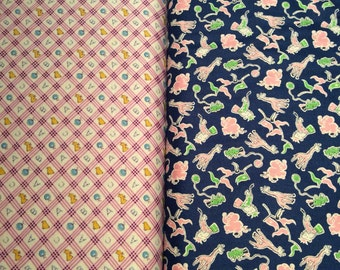 """Toy chest fabric in Blue Animal or Raspberry Plaid w/ducks/bunnies 100% cotton 45"""""""