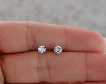 Sterling Silver Premium Quality Cz Stud Earrings. 4MM Round Cz Stud Earring. Classic Round Cz Studs. Small Stud Earrings.