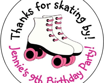 24 printed Roller Skate Skating Theme Birthday Party Stickers 1.67 inch Round Personalized kids Girls Loot Bag Stickers