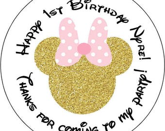 12 Minnie Mouse 1st Birthday Party Stickers 2.5 inch Round Personalized kids Baby Shower