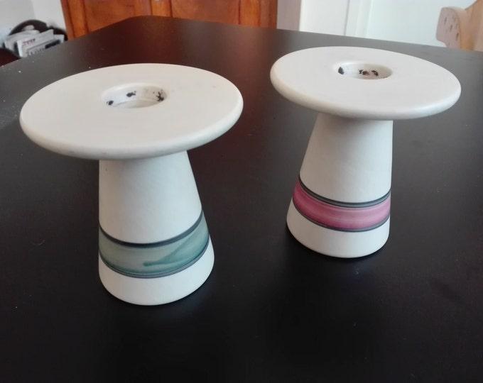 Candle holder set of two, vintage, keramik
