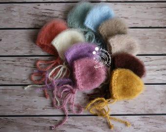 Newborn bonnet, photography props,simple knitted newborn bonnet,baby bonnet,mohair bonnet,Newborn photo prop,