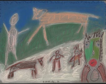 Golden Beast - 2007 pastel drawing by Denis Grundmann (dg) - approx 12.5 x 10 inches San Francisco outsider art brut