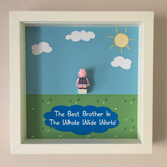 Brother George Pig Minifigure Frame, Mum, Gift, Geek, Box, Birthday, Mum, Anniversary, For Him, Lego, Comic, For Son