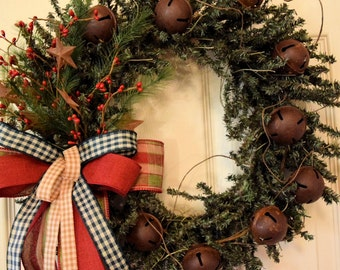 Rustic Pine Christmas Wreath with Red Berries, Rusty Bells and Stars; Winter Holiday Pine Decor Wreath; Primitive Country Christmas Decor