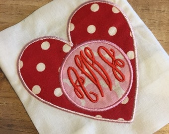 Heart Circle Valentine's Day Shirt or Onesie Embroidered Personalized Monogrammed