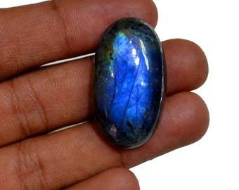 Natural LABRADORITE Gemstone, 36x20x10mm Size, Dark Blue Flashy Labradorite, 37Ct Oval Smooth Cabochon, +++AAA Quality Labradorite