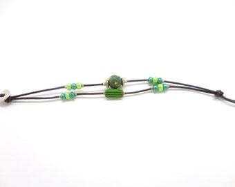 Bracelet leather and Millefiori beads