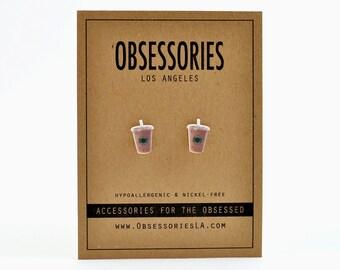 Ice Coffee Earrings Stud Earrings Iced Coffee Latte Cup Of Coffee Cup Coffee Lover Addict Coffee Jewelry Coffee Accessories Coffee Gift Idea