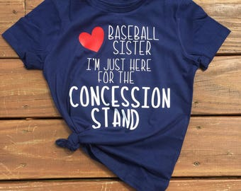 Baseball Sister- Here for the Concession Stand- Girls Tee- Graphic Tee
