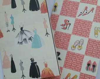 Traveler's Notebook Inserts/ Midori Insert / Faux Dori / Bugo Imserts Dresses and Shoe Design. Double Sided. ONLY ONE EACH  Paper Choice