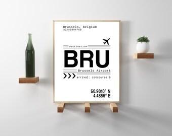 BRU Brussels Airport Call Letters Brussels, Belgium. Minimal, modern, scandinavian decor. Travel, wanderlust art print. Instant Download