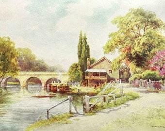 Maidenhead Bridge English antique print river landscape mounted colour book art Haslehurst C1910