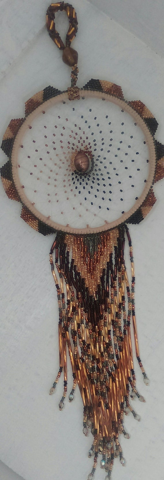 Beaded Dream-catcher - Wall Decor Copper, Brown, Gold Czech Glass Silver lined beads,