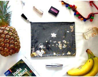 Magic black handbag clutch with stars and shakerabili elements