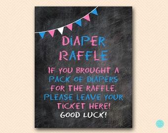 Chalkboard Gender Reveal Game, Diaper Raffle Ticket, Diaper Raffle Sign, Diaper Raffle Printable, Shower Activities, Baby Shower Games, SN29