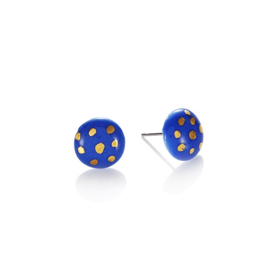 polka dot Blue Studs with 22k Gold