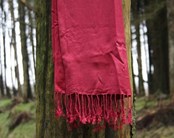Glitter Fabric Spray Painted Red Scarf