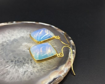 Opalite Earrings Square Gemstone Earrings Gold Bezel Set Earrings Drop Earrings Square Earings Dangle Earrings Everyday Earrings