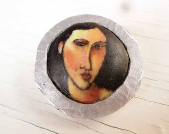 polymer clay brooch with aluminium frame amadeo modigliani art deco brooch