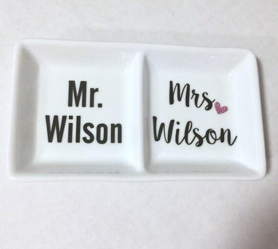 Personalised Wedding Gift Ring Dish : Mrs Personalized Ring Dish, Wedding Gift, Engagement Gift, Ring holder ...