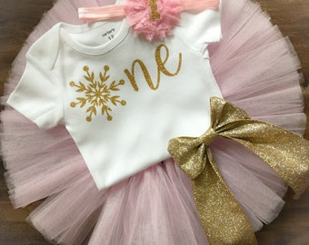 Winter Onederland Birthday Outfit, Snowflake Birthday Outfit, Pink and Gold Birthday Outfit, First Birthday Tutu Set, Winter Birthday
