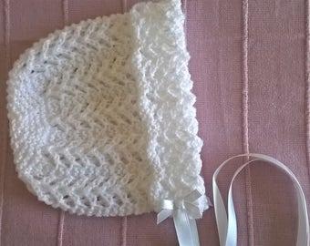 christening bonnet / baby bonnet/ lace bonnet/ white baby bonnet