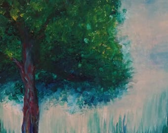 12x12 acrylic abstract tree painting