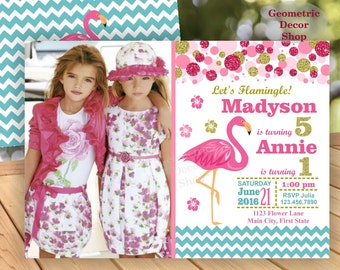 Pink Flamingo Birthday Invitation Girl Aqua Gold Siblings Twins Dual Luau Invite Hawaiian Luau Party Tropical Girls Photo Photograph BDF5