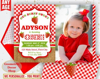 Strawberry Birthday Invite Strawberry Invites Berry Sweet Invitations Girl First Invitation One Red Plaid Burlap Rustic Digital File BDS4